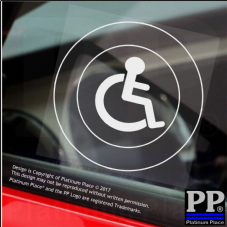 1 x Disabled Logo Only-Round-Window Sticker-Sign,Car,Badge,Notice,Warning,Chair